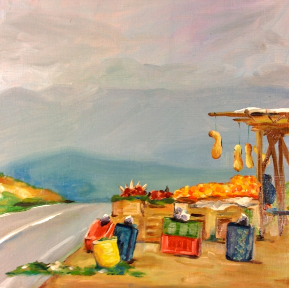 Moroccan Fruit Stand, Oil on panel, 2012
