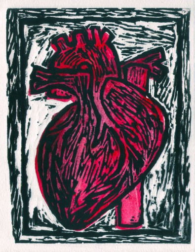Heart, Linoleum block print and gouache, 2013