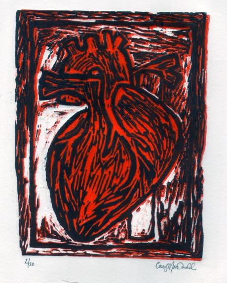 Heart, Linoleum block print 2013