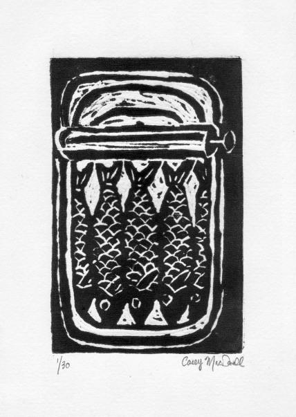 Sardines block print by Casey MacDonald