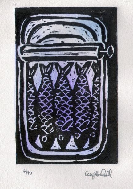 Sardines, Linoleum block print and gouache, 2013