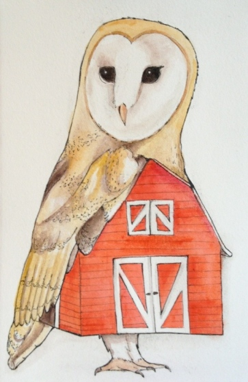 Barn Owl, Ink and gouache on paper, 2013