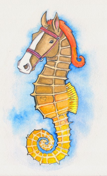 Seahorse, Ink and gouache on paper, 2013